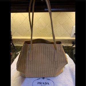 Authentic camel leather Prada tote